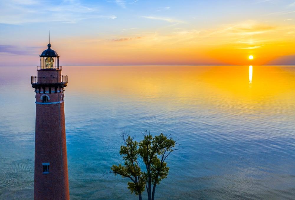 Beautiful sunset from lake michigan lighthouses near kalamazoo
