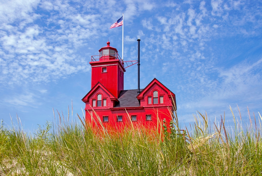 One of the most iconic lake michigan lighthouses, big red near holland